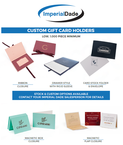 Imperial Dade Custom & Stock Gift Card Holders