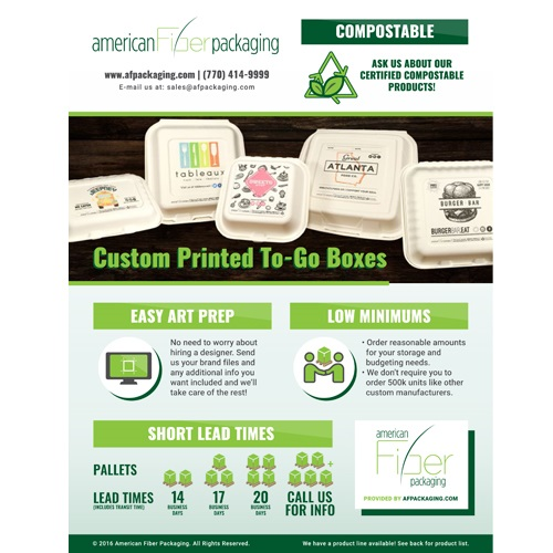 American Fiber Packaging - Custom Printed To-Go Boxes