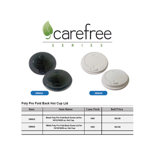 Carefree PolyPro Fold Back Hot Cup Lid